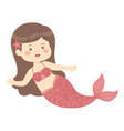 cute mermaid red cartoon vector image