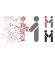 disintegrating pixel halftone persons handshake vector image