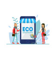 eco shopping people ordering organic food online vector image