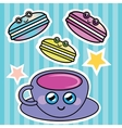 French macaroon and a cup of coffee vector image