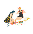 funny adorable young boy and girl sitting on floor vector image vector image