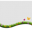 grass and flowers border isolated transparent vector image vector image