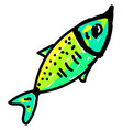 green fish on white background vector image vector image