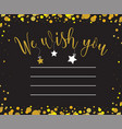greeting card with we wish you inscription vector image vector image