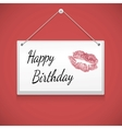 Hanging note board with text Happy Birthday vector image