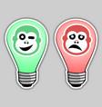 happy and sad bulb vector image vector image