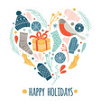 happy holidays christmas icons set in heart vector image