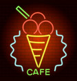 ice cream cafe neon light icon realistic style vector image vector image