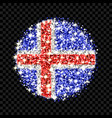 iceland flag sparkling badge vector image vector image