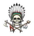 indian skull in war bonnet tattoo vector image vector image