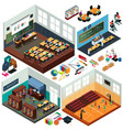 isometric design school buildings and vector image