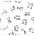 letters font symbols black and white sketch vector image