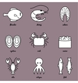 Line art Sea food icon set Infographic elements vector image vector image