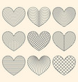 linear minimalistic art deco heart set vector image vector image