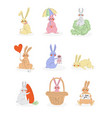 lovely cute bunnies set sweet rabbits characters vector image vector image