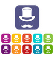 Magic black hat and mustache icons set