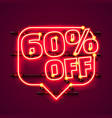 message neon 60 off text banner night sign vector image vector image