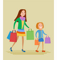 mother and daughter are shopping vector image vector image