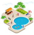 Muslim woman in swimsuit isometric muslim vector image