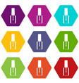 nail polish bottle icon set color hexahedron vector image