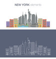 new york thin line icon banner vector image vector image