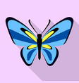 nice blue butterfly icon flat style vector image vector image
