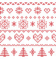Nordic pattern with snowflakes and xmas trees vector image vector image