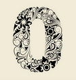 Number 0 floral decorative ornament vector image vector image