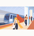 passengers waiting in modern metro station vector image