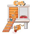 pethouse with two kittens vector image vector image