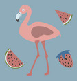 pink flamingo with watermelons and strawberry vector image
