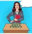 Pop Art Business Woman with Money vector image