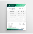 professional green geometric invoice template vector image vector image