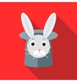 Rabbit in a top magic hat icon flat style vector image vector image