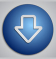 round blue down arrow button with paper cut image vector image vector image