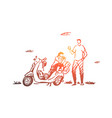 scooter travel couple adventure ride concept vector image