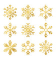 set golden snowflakes for christmas decoration vector image vector image