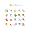 set line icons sweets vector image