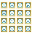 smiles icons set sapphirine square vector image vector image