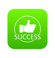 thumbs up icon green vector image