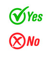 tick check yes cross no mark labels stickers vector image