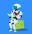 tourist robot with camera and map isolated vector image vector image