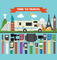 travel composition with famous world modern flat vector image