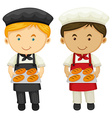 Two bakers with fresh baked bread vector image vector image