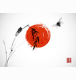 two cicadas big red sun and bamboo branch vector image vector image
