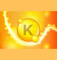 vitamin k gold shining pill capsule icon vitamin vector image
