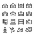 warehouse line icon set vector image