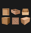 wooden containers 3d boxes for fragile products vector image