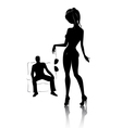 silhouette of young beautiful women in private dan vector image