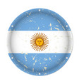 argentina - round metal scratched flag with holes vector image